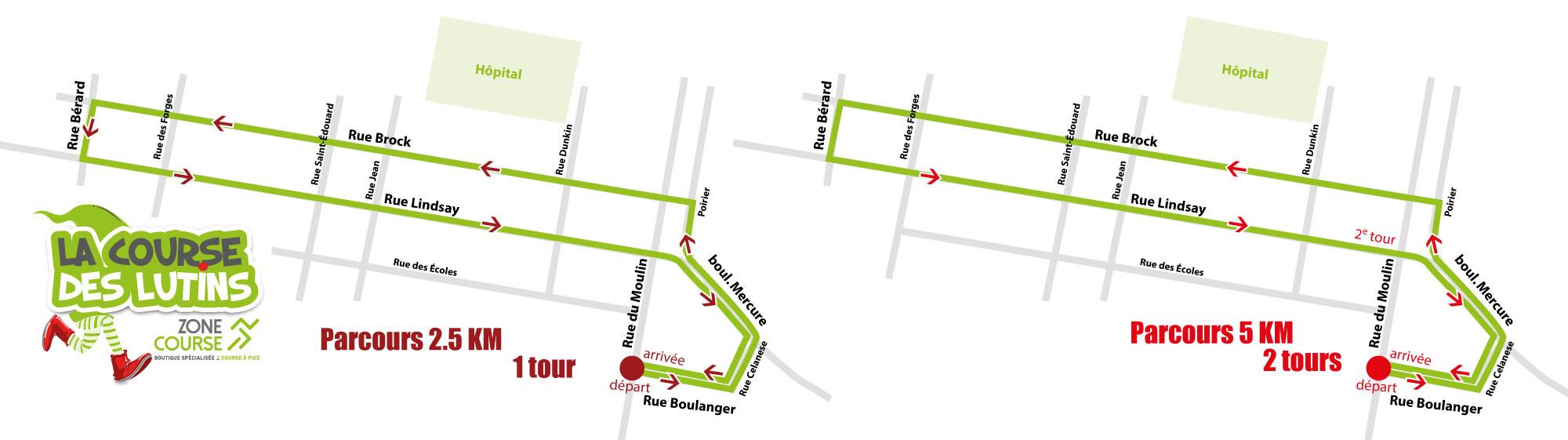 Parcours Lutins Parcours Lutins 2.5 KM et 5 KM